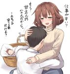1girl 2boys :d admiral_(kantai_collection) alternate_costume baby basket black_hair blush brown_eyes brown_hair closed_eyes commentary_request hair_between_eyes hair_ornament hairclip ikazuchi_(kantai_collection) jewelry kantai_collection kokutou_nikke long_sleeves multiple_boys older open_mouth ring shirt short_hair simple_background smile translation_request wedding_band white_background yellow_shirt
