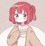 1girl aqua_eyes bangs blush blush_stickers brown_background brown_coat coat commentary_request hand_on_own_chest highres kurosawa_ruby light_frown long_sleeves love_live! love_live!_sunshine!! redhead short_hair solo sweater two_side_up upper_body white_sweater winter_clothes yashino_84