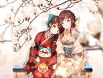 2girls ancotaku ball bangs bench blue_bow blue_eyes blurry blurry_foreground bow brown_eyes brown_hair brown_kimono closed_mouth commentary_request depth_of_field eyebrows_visible_through_hair floral_print flower hair_bow hair_flower hair_ornament japanese_clothes kimono long_sleeves magnolia multiple_girls obi on_bench original parted_lips print_kimono red_kimono sash signature sitting smile white_flower wide_sleeves