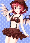 1girl :d bandeau bangs bare_arms bare_shoulders bikini bikini_skirt blue_background blush breasts brown_bikini brown_headwear brown_skirt collarbone commentary_request cowboy_shot eyebrows_visible_through_hair feathered_wings hair_between_eyes hand_up hat head_wings highres looking_at_viewer mob_cap mystia_lorelei navel open_mouth pink_eyes pink_hair polka_dot polka_dot_background ruu_(tksymkw) short_hair skirt small_breasts smile solo standing stomach strapless strapless_bikini suspender_skirt suspenders swimsuit thighs touhou wings