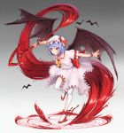 1girl absurdres animal ascot back_bow bangs bat bat_wings blood blue_hair bow brown_wings commentary_request frilled_shirt frilled_shirt_collar frilled_skirt frills full_body goback gradient gradient_background grey_background hat hat_bow hemokinesis high_heels highres holding holding_weapon huge_filesize looking_away magic_circle mob_cap outstretched_arms parted_lips puffy_short_sleeves puffy_sleeves pumps red_bow red_eyes red_footwear remilia_scarlet ribbon shirt shoes short_sleeves skirt smirk solo spear_the_gungnir spread_wings standing standing_on_one_leg thigh-highs torn_wings touhou v-shaped_eyebrows weapon white_headwear white_legwear white_shirt white_skirt wings wrist_cuffs yellow_neckwear