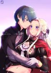1boy 1girl armor blonde_hair blue_eyes blue_hair breasts byleth_(fire_emblem) byleth_(fire_emblem)_(male) cape chinchongcha couple cravat edelgard_von_hresvelg fire_emblem fire_emblem:_three_houses fire_emblem_heroes gloves hair_ornament hair_ribbon highres long_hair medium_breasts navel pantyhose red_cape red_legwear ribbon short_hair simple_background smile uniform upper_body
