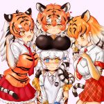 4girls @_@ absurdres anger_vein animal_ear_fluff animal_ears animal_print bangs black_hair blue_eyes blush bow breast_pocket breast_rest breasts breasts_on_head byakko_(kemono_friends) closed_mouth collared_shirt commentary_request elbow_gloves extra_ears eyebrows_visible_through_hair fang garter_straps gloves grey_hair grey_neckwear hair_bow hakumaiya half-closed_eyes hands_on_another's_shoulders hands_up heart height_difference heterochromia highres japari_symbol kemono_friends long_hair long_sleeves looking_at_another looking_at_viewer low-tied_long_hair multicolored_hair multiple_girls necktie nose_blush open_mouth orange_hair pink_background plaid plaid_neckwear plaid_skirt pocket print_gloves print_shirt red_neckwear shirt short_hair short_sleeves siberian_tiger_(kemono_friends) sidelocks skirt smile sumatran_tiger_(kemono_friends) sweater_vest tail tearing_up thigh-highs tiger_(kemono_friends) tiger_ears tiger_print tiger_tail twintails two-tone_hair v_arms white_hair white_shirt wing_collar yellow_eyes zettai_ryouiki