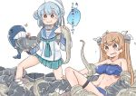 2girls aqua_neckwear aqua_skirt bangs black_ribbon blue_hair blue_sailor_collar breasts brown_eyes dixie_cup_hat double_bun eating enemy_naval_mine_(kantai_collection) enjaku_izuku eyebrows_visible_through_hair hat hat_ribbon highres johnston_(kantai_collection) kantai_collection light_brown_hair long_hair long_sleeves medium_breasts military_hat miniskirt multiple_girls neckerchief pleated_skirt ribbon sailor_collar sailor_hat samuel_b._roberts_(kantai_collection) school_uniform serafuku shinkaisei-kan shirt short_hair simple_background skirt sleeve_cuffs sweat swimsuit tentacles translation_request two_side_up white_background white_headwear white_shirt yellow_eyes