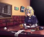 1girl absurdres arm_support armpits ashtray blue_eyes blush boa_(brianoa) bottle braid breasts cape chain cup drinking_glass exit_sign fate/apocrypha fate/grand_order fate_(series) hair_between_eyes headpiece highres jeanne_d'arc_(fate) jeanne_d'arc_(fate)_(all) large_breasts long_hair solo sweat twitter_username wine_bottle wine_glass