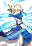 1girl a-senmei ahoge armor armored_dress artoria_pendragon_(all) blonde_hair braid breastplate breasts commentary_request dress energy energy_sword excalibur eyebrows_visible_through_hair fate/stay_night fate_(series) gauntlets green_eyes hair_ribbon highres long_hair looking_at_viewer medium_breasts puffy_sleeves ribbon saber short_hair solo sword v-shaped_eyebrows weapon