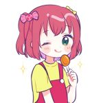 1girl :q ;q bangs blush_stickers candy candy_hair_ornament flat_color food food_themed_hair_ornament hair_ornament highres holding_lollipop kurosawa_ruby lollipop looking_at_viewer love_live! love_live!_sunshine!! one_eye_closed overalls red_overalls shirt short_hair short_sleeves simple_background smile solo sparkle tongue tongue_out two_side_up white_background yashino_84 yellow_shirt