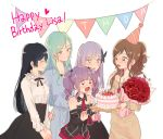 5girls ^_^ aqua_hair bang_dream! beige_sweater birthday_cake black_hair black_neckwear black_skirt blue_dress bouquet brown_hair butterfly_hair_ornament cake character_name closed_eyes commentary_request crying detached_sleeves dress earrings english_text flower food frilled_shirt_collar frills green_eyes grey_hair hair_ornament half_updo happy_birthday happy_tears hat heart high-waist_skirt hikawa_sayo imai_lisa jewelry korean_commentary long_sleeves minato_yukina multiple_girls neck_ribbon necktie open_mouth party_hat purple_hair red_flower red_neckwear red_rose res2shuu ribbon rose roselia_(bang_dream!) shirokane_rinko shirt sidelocks simple_background skirt smile string_of_flags sweatdrop sweater sweater_dress tears twintails udagawa_ako violet_eyes white_background white_shirt yellow_eyes