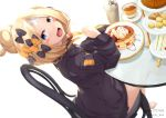 1girl :d abigail_williams_(fate/grand_order) absurdres bangs barefoot black_bow black_jacket blonde_hair blue_eyes blush_stickers bow chair crossed_bandaids cup disposable_cup fate/grand_order fate_(series) food fork hair_bow hair_bun hand_up head_tilt heroic_spirit_traveling_outfit highres holding holding_fork jacket kana616 long_hair long_sleeves looking_at_viewer looking_to_the_side on_chair open_mouth orange_bow pancake parted_bangs plate polka_dot polka_dot_bow sandwich simple_background sitting sleeves_past_fingers sleeves_past_wrists smile solo stack_of_pancakes stuffed_animal stuffed_toy table tea teacup teddy_bear tiered_tray twitter_username white_background
