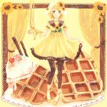 1girl blonde_hair blue_eyes brown_legwear curtains dessert dress flower food full_body hair_flower hair_ornament honey kagamine_rin kagamiya_ruru licking_lips looking_at_viewer short_hair short_sleeves standing tongue tongue_out vocaloid waffle yellow_dress yellow_footwear