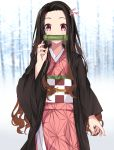 1girl absurdres backlighting bamboo bangs bit_gag black_hair blurry blurry_background blush checkered commentary_request day depth_of_field fingernails forehead gag hair_ribbon hand_up highres japanese_clothes kamado_nezuko kimetsu_no_yaiba kimono long_sleeves looking_at_viewer norazura obi open_clothes outdoors parted_bangs pink_eyes pink_kimono pink_ribbon ribbon sash solo wide_sleeves