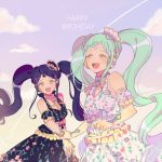 2girls :d aqua_hair black_dress black_hair braid character_request clenched_hand condensation_trail detached_sleeves dress floral_print frilled_sleeves frills galala_s_leep happy_birthday head_chain headphones holding_hand idol_time_pripara long_hair multiple_girls neck_ribbon open_mouth pink_neckwear pink_ribbon pretty_(series) print_dress pripara purple_ribbon res2shuu ribbon short_sleeves sidelocks smile twintails very_long_hair violet_eyes white_dress wrist_flower yellow_eyes