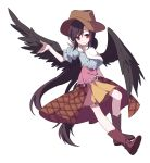 1girl bangs black_wings boots brown_footwear brown_hair brown_headwear closed_mouth cowboy_hat feathered_wings full_body gla hand_up hat highres horse_tail kurokoma_saki long_hair looking_at_viewer neckerchief off_shoulder ponytail puffy_short_sleeves puffy_sleeves red_eyes short_sleeves sidelocks simple_background skirt smile solo tail touhou white_background white_neckwear wings yellow_skirt