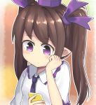 1girl absurdres black_neckwear brown_hair cellphone hand_on_own_cheek highres himekaidou_hatate necktie phone pointy_ears purple_headwear saisoku_no_yukkuri shirt simple_background solo touhou upper_body violet_eyes white_shirt