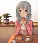 1girl alternate_hairstyle bang_dream! bangs blue_hair blush bonachiyama braid cup elbows_on_table flower food fork hair_flower hair_ornament hands_together highres interlocked_fingers long_hair long_sleeves matsubara_kanon pink_cardigan plant plate potted_plant pov_across_table saucer shirt sideways_glance sitting smile smiley_face solo strawberry_shortcake sugar_bowl table teacup twin_braids violet_eyes white_shirt