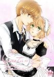 1boy 1girl apron bangs black_ribbon black_shirt blonde_hair blue_neckwear bow brown_hair cardcaptor_sakura choker collarbone collared_shirt copyright_name cover cover_page doujin_cover frilled_apron frills green_eyes hair_between_eyes hand_on_another's_shoulder kanaoto_neiro kinomoto_sakura li_xiaolang maid_headdress miniskirt necktie open_mouth ribbon ribbon_choker shirt short_hair short_sleeves simple_background skirt thigh-highs waist_apron white_apron white_background white_bow white_legwear white_shirt wing_collar zettai_ryouiki