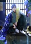 1boy blue_hair book_stack feather_boa floral_print flower full_body hanging_scroll highres indoors izumi_(stardustalone) japanese_clothes kimono looking_at_viewer magatama male_focus scroll sitting student_solver