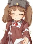 1girl alchera brown_hair closed_eyes commentary_request facing_viewer flat_chest grin japanese_clothes jewelry kantai_collection kariginu magatama red_shirt ring ryuujou_(kantai_collection) shirt simple_background smile solo twintails upper_body visor_cap wedding_band white_background white_shirt