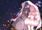 2girls :d akemi_homura backlighting bangs black_dress black_hair black_ribbon blurry bokeh bubble_skirt capelet choker collared_dress commentary_request cover cover_page crying crying_with_eyes_open depth_of_field doujin_cover dress english_text eyebrows_visible_through_hair face-to-face fingernails flat_chest frown gloves hair_ribbon hand_on_own_chest happy kaname_madoka korean_commentary light_smile long_dress long_hair looking_at_another mahou_shoujo_madoka_magica multiple_girls night night_sky open_mouth pc_(z_yu) pink_choker pink_eyes pink_hair pink_neckwear pink_ribbon profile puffy_short_sleeves puffy_sleeves ribbon short_sleeves skirt sky smile soul_gem star star_(sky) starry_sky tears text_focus under_covers violet_eyes white_gloves