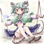 1girl animal_ears bloomers blush blush_stickers capelet commentary_request dowsing_rod eyebrows_visible_through_hair fingernails glowing_jewelry grey_hair holding jewelry legs long_sleeves looking_at_viewer midriff mouse_ears mouse_tail nanashii_(soregasisan) navel nazrin necklace pendant puffy_long_sleeves puffy_sleeves red_eyes shirt shoes short_hair simple_background sitting skirt smile socks solo tail touhou underwear white_legwear white_shirt