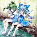 2girls ascot bare_legs barefoot blue_dress blue_eyes blush bow cirno commentary_request daiyousei dress eating eyebrows_visible_through_hair fairy_wings food grass green_eyes green_hair hair_bow hair_ribbon holding holding_food ice ice_cream ice_wings legs light_blue_hair log looking_to_the_side multiple_girls nanashii_(soregasisan) neck_ribbon popsicle puffy_short_sleeves puffy_sleeves red_neckwear red_ribbon ribbon saliva short_hair short_sleeves side_ponytail sitting sitting_on_log smile toenails toes tongue tongue_out touhou water wings yellow_neckwear yellow_ribbon
