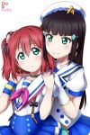 2girls aozora_jumping_heart black_hair commentary_request green_eyes highres kurosawa_dia kurosawa_ruby long_hair love_live! love_live!_sunshine!! mole multiple_girls redhead shiimai short_twintails siblings sisters twintails