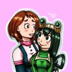 2girls asui_tsuyu blush boku_no_hero_academia friends highres multiple_girls self_upload uraraka_ochako yumomochan