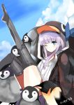 1girl animal_hood bangs black_jacket blue_bow blue_eyes blue_sky blush bow closed_mouth clouds commentary_request day eyebrows_visible_through_hair fate/grand_order fate_(series) highres hood hood_up hooded_jacket jacket knee_up leg_up long_hair lunacats meltryllis meltryllis_(swimsuit_lancer)_(fate) one_eye_closed outdoors penguin_hood purple_hair sidelocks sky solo twitter_username