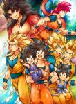 6+boys aqua_eyes ayo_(isy8800) black_eyes black_hair blonde_hair carrying clouds dougi dragon_ball dragon_ball_(classic) dragon_ball_gt dragon_ball_z earth feathers fur hand_on_hip male_focus monkey_tail multiple_boys multiple_persona muscle red_eyes redhead smile son_gokuu super_saiyan super_saiyan_3 super_saiyan_4 super_saiyan_god tail wristband yellow_eyes