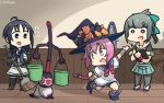 2others 3girls abigail_williams_(fate/grand_order) abigail_williams_(fate/grand_order)_(cosplay) beige_sailor_collar bike_shorts black_gloves black_headwear black_legwear black_shirt blue_hair bow braid broom bucket clipboard commentary_request cosplay crossover dated diomedea disney dress elbow_gloves fantasia fate/grand_order fate/stay_night fate_(series) gloves green_eyes green_skirt grey_hair hair_bow half_gloves hamu_koutarou hat headgear highres indoors kadokawa_games kantai_collection loli long_hair low_twintails mickey_mouse_(series) multiple_girls multiple_others nenohi_(kantai_collection) o_o open_mouth pantyhose pink_hair pleated_skirt ponytail sailor_collar sailor_dress school_uniform serafuku shadow shirt single_braid skirt sleeveless sleeveless_shirt standing suzukaze_(kantai_collection) tank_top teddy_bear twintails type-moon ufotable violet_eyes witch_hat yuubari_(kantai_collection)