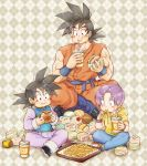 ayo_(isy8800) black_eyes black_hair blue_footwear boots chinese_clothes cup dragon_ball dragon_ball_super drinking drinking_straw eating father_and_son food food_in_mouth food_on_face french_fries hamburger hood hoodie indian_style muscle patterned_background purple_hair sitting son_gokuu son_goten trunks_(dragon_ball) violet_eyes wristband