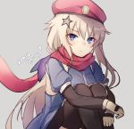 1girl 9a-91_(girls_frontline) arm_warmers artist_name beret black_legwear blue_dress blue_eyes character_name closed_mouth detached_sleeves dress frown girls_frontline gloves grey_background hat highres knees_up long_hair looking_at_viewer red_headwear red_scarf scarf silver_hair sitting solo star thigh-highs v-shaped_eyebrows white_gloves xoaiu