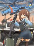 1girl aircraft armband assault_rifle bangs belt brown_hair building cartridge eyebrows eyebrows_visible_through_hair eyes_visible_through_hair gloves ground_vehicle gun hair_between_eyes handgun hat heavy_machine_gun helicopter highres holding holding_gun holding_weapon holster holstered_weapon looking_at_viewer machine_gun mikeran_(mikelan) military military_vehicle motor_vehicle original outdoors police police_hat police_uniform policewoman power_lines rifle road scenery short_hair shotgun shotgun_shells sky street telephone_pole truck uniform weapon