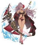 1girl arrow bikini blue_eyes bow_(weapon) cinderella_(sinoalice) crossed_legs dark_skin flower full_body hair_flower hair_ornament hair_over_one_eye ji_no long_hair looking_at_viewer official_art ponytail purple_hair sandals sinoalice smile solo swimsuit transparent_background very_long_hair water watson_cross weapon