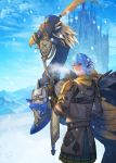 1boy armor blue_eyes blue_hair blue_sky castle chainmail chocobo earrings final_fantasy final_fantasy_xiv highres jewelry looking_back medium_hair mt_(ringofive) outdoors pointy_ears reins saddle saddlebags sky smile standing