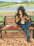 1boy ayo_(isy8800) bench black_hair blue_sky building casual cat cn_tower crossed_legs denim dragon_ball dragon_ball_gt eating food food_on_face jacket jeans lake long_hair male_focus monkey_tail pants park park_bench shoes sky skyscraper sneakers solo son_gokuu tail tree yellow_eyes