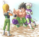 1girl 2boys abs armor black_eyes black_hair boots bosstseng breasts broly_(dragon_ball_super) camera cheelai dragon_ball dragon_ball_super dragon_ball_super_broly facial_scar green_skin grin hat lemo_(dragon_ball) light medium_breasts mouth_pull multiple_boys muscle open_mouth orange_skin red_eyes scar scar_on_cheek shirtless short_hair signature size_difference smile squatting v white_footwear white_hair
