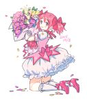 1girl 2015 blush bouquet choker dated eyebrows_visible_through_hair flower frilled_skirt frills full_body gloves hair_ribbon happy holding holding_bouquet holding_flower kaname_madoka kneeling leaf looking_back mahou_shoujo_madoka_magica petals pink_choker pink_eyes pink_flower pink_footwear pink_hair pink_neckwear pink_ribbon puffy_short_sleeves puffy_sleeves ribbon saji_(mei-low) short_sleeves short_twintails simple_background skirt smile socks solo thigh-highs twintails white_background white_flower white_gloves white_legwear white_skirt yellow_flower zettai_ryouiki