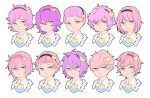 1girl bangs bow closed_mouth face frills frown hair_between_eyes hair_bow hair_ornament heart heart_hair_ornament komeiji_satori looking_at_viewer mefomefo messy_hair pink_eyes pink_hair short_hair simple_background touhou variations white_background