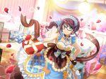 blue_eyes blush chocolate dress glasses headdress hoshimi_junna long_hair purple_hair shoujo_kageki_revue_starlight valentine