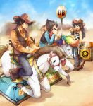 3boys animal_print ayo_(isy8800) black_eyes black_hair blue_sky boots brown_footwear cow_print cowboy_hat desert dragon_ball dragon_ball_z drinking drinking_straw eating glass gun handgun hat hat_removed headwear_removed holster holstered_weapon hot_dog kiddie_ride long_hair male_focus mechanical_horse mountain multiple_boys neckerchief plaid plaid_shirt revolver sheriff_badge shirt sign sky son_gohan son_gokuu vegeta vest weapon