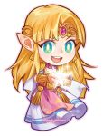 1girl :d bangs blonde_hair blue_eyes bracer chibi circlet dress earrings full_body gem jewelry long_hair looking_at_viewer magic open_mouth parted_bangs pauldrons pockypalooza pointy_ears princess_zelda round_teeth short_sleeves shoulder_armor sidelocks simple_background smile solo super_smash_bros. tabard teeth the_legend_of_zelda the_legend_of_zelda:_a_link_between_worlds the_legend_of_zelda:_a_link_to_the_past triforce twitter_username upper_teeth very_long_hair white_background white_dress
