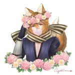 1boy absurdres animal_ears artist_name fingerless_gloves fire_emblem fire_emblem_fates flower fox_ears fox_tail gloves head_wreath highres kaden_(fire_emblem) leaf male_focus orange_eyes orange_hair scarf tail upper_body white_background yukiiruuu