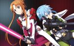 2girls absurdres asuna_(sao) beam_saber belt black_belt black_gloves black_shorts blue_eyes blue_hair braid brown_eyes brown_hair closed_mouth crown_braid cutout dress dutch_angle fingerless_gloves floating_hair frown gloves green_jacket gun hair_between_eyes highres holding holding_gun holding_sword holding_weapon huge_filesize jacket leotard long_sleeves multiple_girls pgm_hecate_ii red_sweater ribbed_sweater rifle shiny shiny_hair short_hair short_hair_with_long_locks short_shorts shorts shoulder_armor sidelocks sinon sniper_rifle stance standing sweater sweater_dress sword sword_art_online thigh-highs v-shaped_eyebrows weapon white_leotard zettai_ryouiki