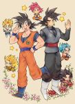 armor ayo_(isy8800) black_eyes black_hair blonde_hair blue_eyes blue_footwear blue_hair boots bowl chibi dougi dragon_ball dragon_ball_gt dragon_ball_super dragon_ball_z earrings eating flower food food_on_face gloves gokuu_black hand_on_hip jewelry long_hair monkey_tail multiple_persona open_mouth plant potara_earrings red_eyes redhead single_earring smile son_gokuu star super_saiyan super_saiyan_3 super_saiyan_4 super_saiyan_blue super_saiyan_god tail very_long_hair vines white_footwear white_gloves wristband yellow_eyes