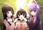 3girls :3 animal_ears bamboo bamboo_forest bangs black_hair blazer blue_coat blunt_bangs blurry blush bow bowtie bright_pupils carrot_necklace cheek_pinching cheek_poking commentary_request crossed_bandaids day depth_of_field dress dress_shirt eyebrows_visible_through_hair forest hair_between_eyes hand_on_another's_cheek hand_on_another's_face high_collar highres houraisan_kaguya inaba_tewi jacket long_hair long_sleeves looking_at_another looking_up multiple_girls nature necktie open_mouth outdoors pinching pink_dress pink_shirt poking puffy_short_sleeves puffy_sleeves purple_hair rabbit_ears red_eyes red_neckwear reisen_udongein_inaba shirt short_sleeves sidelocks standing touhou tsukimirin upper_body very_long_hair white_neckwear white_pupils white_shirt