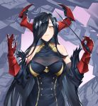 1girl azur_lane bare_shoulders baton_(instrument) black_dress black_hair breasts closed_mouth dress friedrich_der_grosse_(azur_lane) gloves hair_ornament hair_over_one_eye hands_up highres holding large_breasts long_hair looking_at_viewer machinery red_gloves red_horns shinidei simple_background sleeveless sleeveless_dress smirk solo turtleneck_dress upper_body very_long_hair yellow_eyes