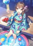 1girl :d animal aqua_kimono ball bottle breasts brown_eyes brown_hair cat commentary_request day earrings flower food from_above glint hair_bun hair_flower hair_ornament holding holding_bottle japanese_clothes jewelry kimono long_hair long_sleeves looking_at_viewer looking_up obi open_mouth original plate popsicle print_kimono rubber_duck sash side_bun side_ponytail sitting small_breasts smile solo sunlight veranda wading wading_pool water water_bottle watermelon_bar wide_sleeves wind_chime yamyom
