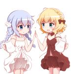 2girls :d bare_arms bare_shoulders blonde_hair bloomers blue_eyes blue_hair blush bow braid breasts brown_bloomers brown_bow brown_collar brown_dress closed_mouth collar commentary_request detached_collar dress eye_contact gochuumon_wa_usagi_desu_ka? goth_risuto hair_bow heart high_five holding kafuu_chino kirima_sharo long_hair looking_at_another low_twintails matching_outfit multiple_girls open_mouth simple_background sleeveless sleeveless_dress small_breasts smile teapot twin_braids twintails underwear very_long_hair white_background white_bloomers white_collar white_dress