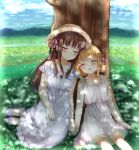 2girls absurdres blonde_hair blue_sky blush brown_hair closed_eyes dress fruits_basket grass hair_ribbon hat highres honda_tooru kazari_s multiple_girls ribbon sandals sitting sky sleeping smile souma_kisa tree white_dress